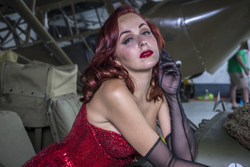 Sensual, beautiful woman with pinup style of the Second World Wa