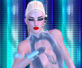 sci fi girl with futuristic outfit, blonde hairstyle and glowing abstract background.