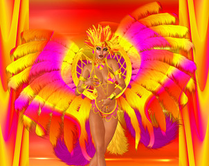 Poster Carnaval Carnival dancer woman in colorful feathers and headdress.