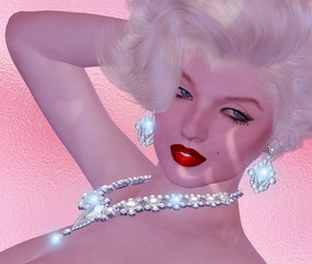 Blonde bombshell on pink glitter and diamond background.