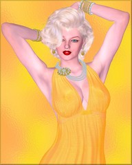 Blonde bombshell on gold glitter background with diamond necklace.