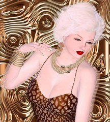 Blonde bombshell on brown glitter and bronze swirl background.