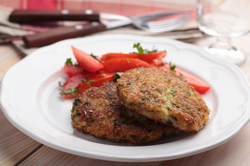 Fish cakes with salad