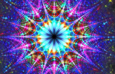 fractal glowing illustration card Christmas Magic Star