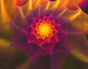 illustration fractal background with bright red flower with gold