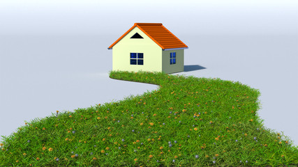 illustration of grass road to house