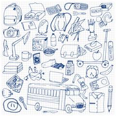 Hand drawn school doodles