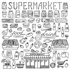 Supermarket hand drawn doodle set
