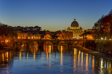 Rome at dusk, Tiber River and the Vatican view