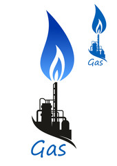 Natural gas flame and industrial factory