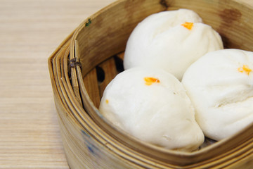 close-up steamed stuff bun / Salapao