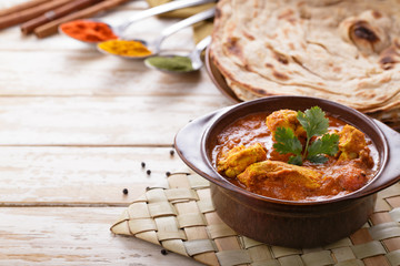 indian chicken curry and prata bread