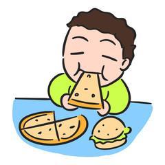 Cartoon boy is eating pizza, isolated vector stock