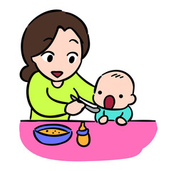 mother feeding her baby by spoon, isolate Vector Stock