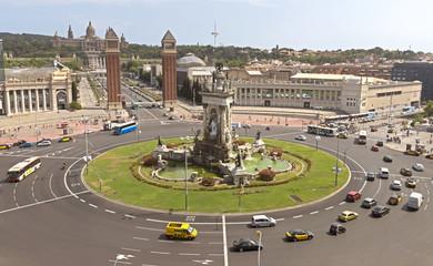 Placa De Espana - top view. Barcelona, Spain.