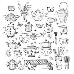 Eastern tea ceremony objects.