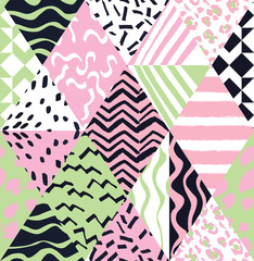 trendy geometric patchwork seamless background