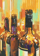 colorful painting with bottle of wine,illustration