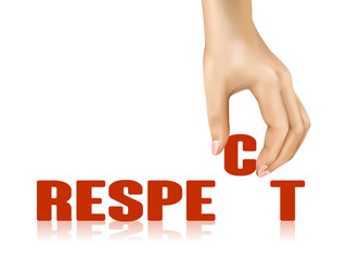 respect word taken away by hand