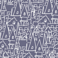 Royal Castle with towers seamless pattern. Vector background of
