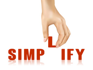 simplify word taken away by hand