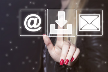 Business button message web mail sending sign download