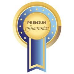 Runder Premium Guarantee Button in blau auf weißem Hintergrund