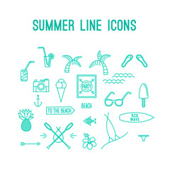Summer line icon set. Beach and sea resort vacation design