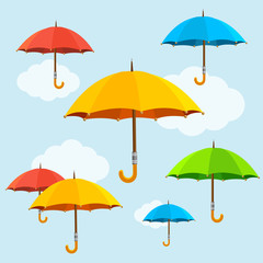 Vector colorful umbrellas fly background. Flat design style