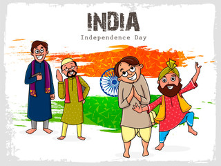 Different religion people for Independence Day.