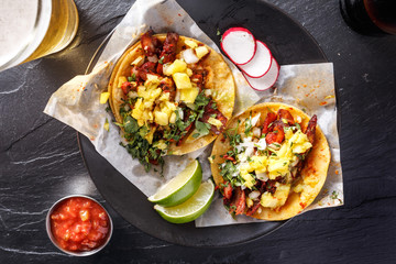 Wall Mural - mexican street tacos with beer shot top down
