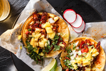Sticker - mexican al pastor street tacos overhead shot close up
