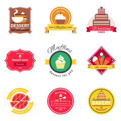 Confectionery And Bakery Flat Emblems Set