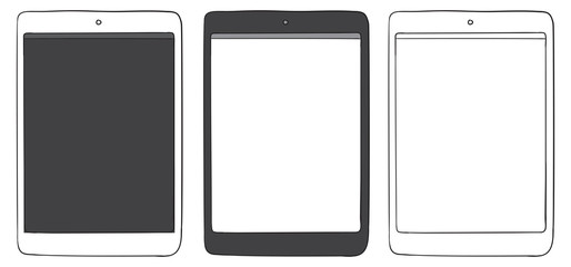 Tablet PC Hand Drawn Vector Icon Set.