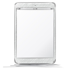 Tablet PC Hand Drawn Vector Illustration.