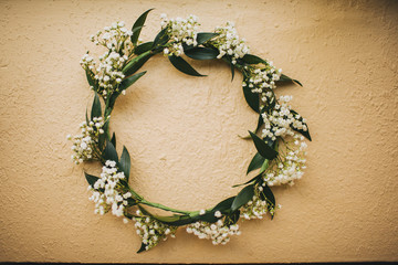 Floral Bride's Crown Made With Baby's Breath and Leaves