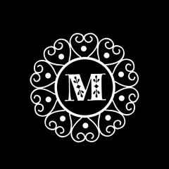 Shiny frame with Letter M for monogram.
