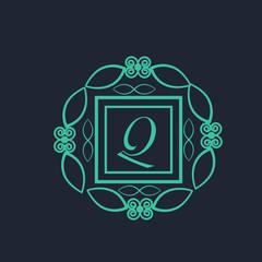 English Alphabet Q for premium monogram.