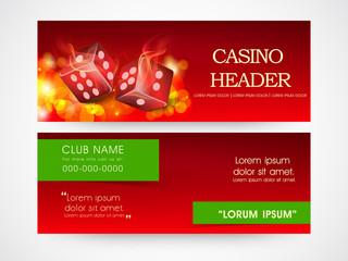 Web header or banner for casino.