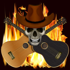 vector illustration background music skull in a cowboy hat with crossed guitars on a background of flames