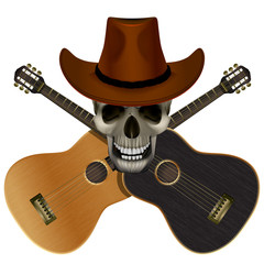 Vector illustration Skull in cowboy hat on a background of overlapping guitars light and dark colors. Isolation object.