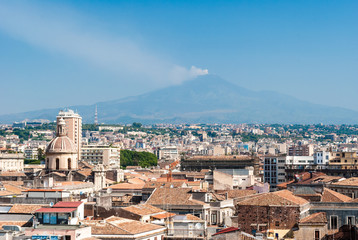 Aerial view of Catania as seen from the dome of a church