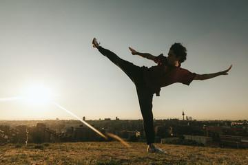 Young Man Training Wushu
