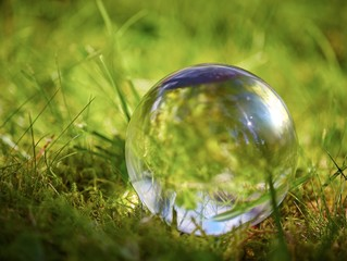 Glass ball on the grass in the summer