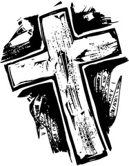 A black and white woodcut style drawing of a wooden cross.