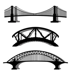 Fotobehang Brug Vector set. Bridges.