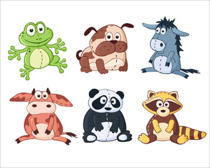 Cartoon stuffed toys. Panda, dog, donkey, cow, raccoon, frog.