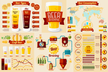 Set of Beer Infographic elements with icons, different charts