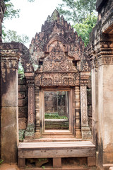 buildings and arts in Banteay Srei in Cambodia