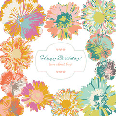 Birthday floral greeting card (vector)